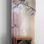 SOLD~The Bird Nest, Oil paint and found nest on canvas, 20in x 6in