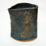 Blue Slab Vessel, imprinted with cloth doily, 8in tall x 7in wide