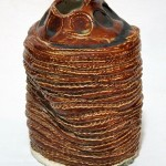Coil built vessel textured with clothesline, 9in x 10in
