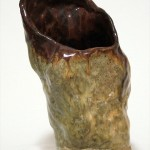 Small Vessel, brown with oatmeal glaze, 7in tall x 4in wide
