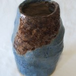 Vase Blue-Brown, 10in tall x 8in wide