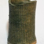 Vessel with Small Squares, imprinted with wire mesh, 10in tall x 6in wide