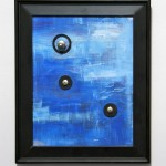 SOLD~Blue, Acrylic, found objects, and recycled frame, 17in x 15in