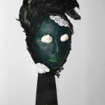 Mask Form, paint, found objects and feathers