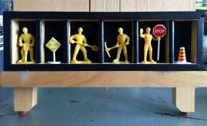 Men At Work~ wooden box, plastic figures, acrylic 3in x 10in x 1.5in